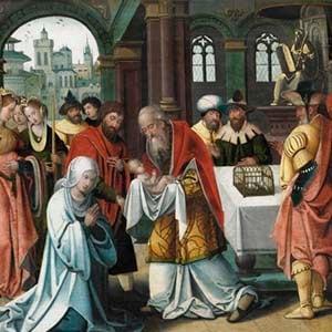 La presentación del pequeño Jesús en el templo